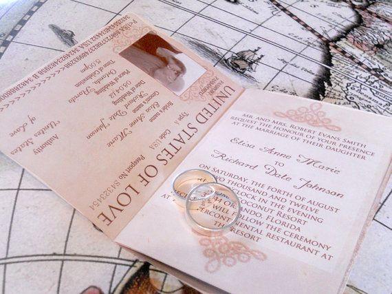 Wedding Invitation Passport Printable Template Vintage Passport 6 P