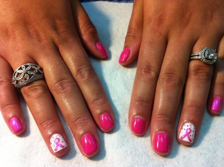 Breast cancer shellac Hot pop pink and cream puff | Fabulous Nail Art