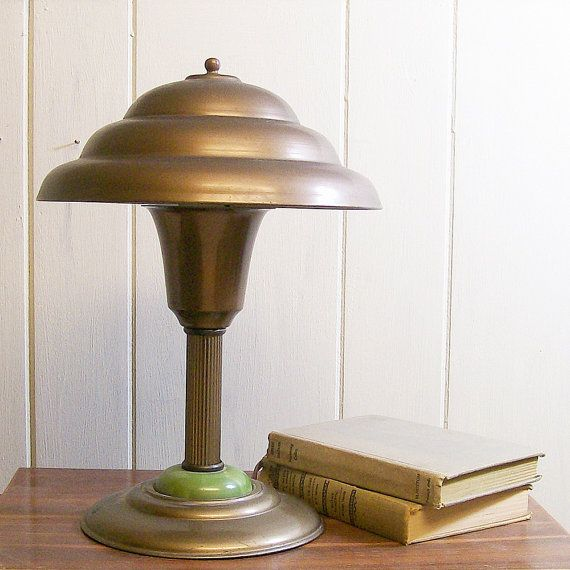 Vintage Lamp Desk Table Metal Mushroom