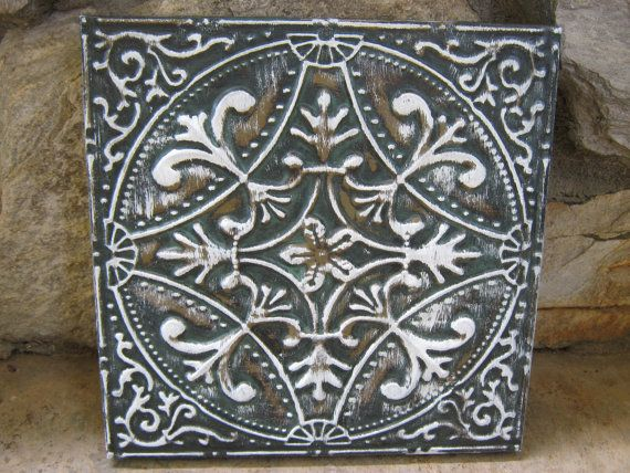 White Tin Wall Decor : Distressed turquoise and white metal tile wall decor