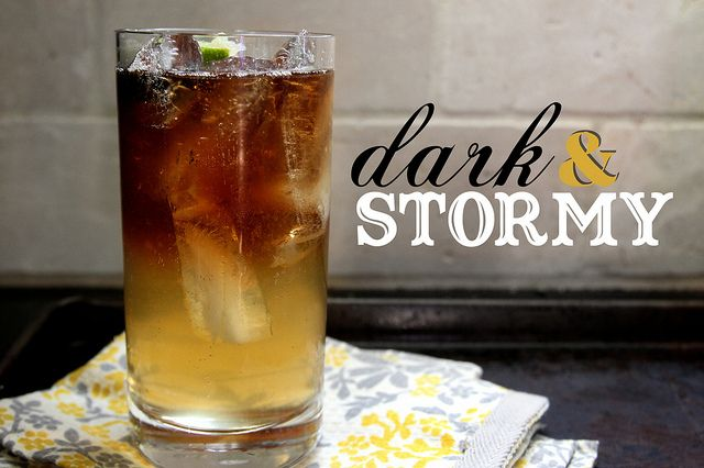 Dark & Stormy; ginger beer, dark rum, and lime