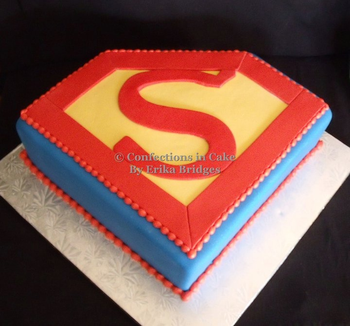 Pin superman logo birthday cake by ohana designs cake on for Superman logo template for cake