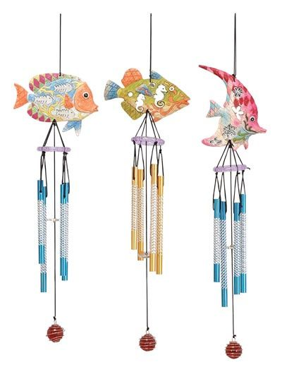 Nautical windchime fish wind chime sea the water for Fish wind chimes