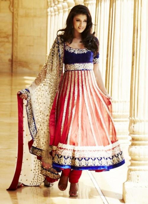 Red Blue Anarkali love it