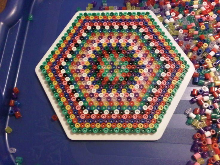 Striped Hexagon Hama  beads by murderdollsqueen on deviantart