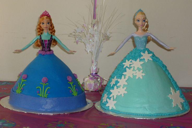 Elsa And Anna Cake Decoration : Frozen Anna & Elsa doll cakes Girl Birthday cakes/treat ...