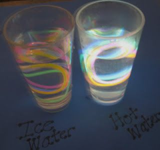 Put glowsticks in ice and hot water.  Look at the difference!!!