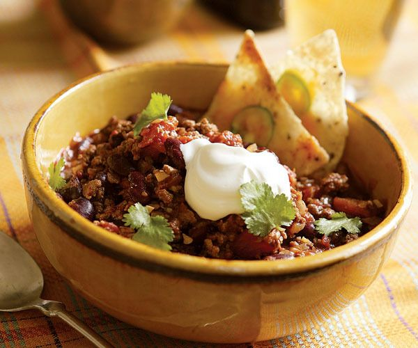 Beef & Bean Chili with Individual Nachos by Fine Cooking