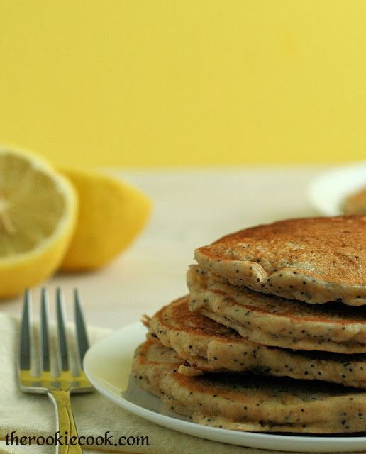 Lemon Poppy Seed Yogurt Pancakes ~ The Rookie Cook
