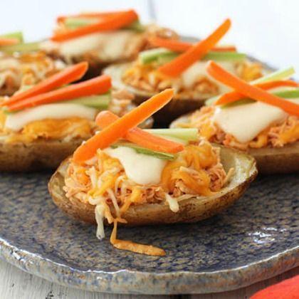Skinny Buffalo Chicken Potato Skins | Slow Cooker Ideas | Pinterest