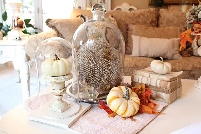 fall decor with terrariums