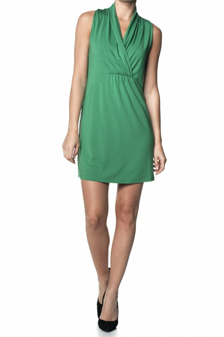 Short dress with cross over collar | Dresses