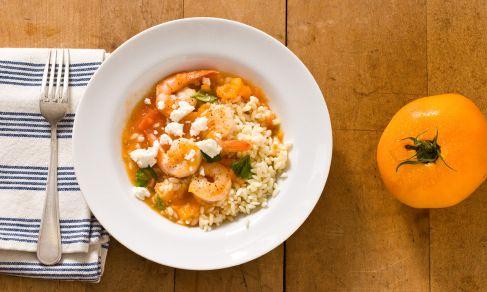 Shrimp with Fresh Tomatoes, Basil and Feta | Recipe