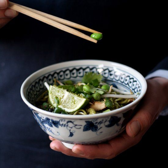 Green tea soba noodles with mushrooms, lots of lime, cilantro, sesame ...