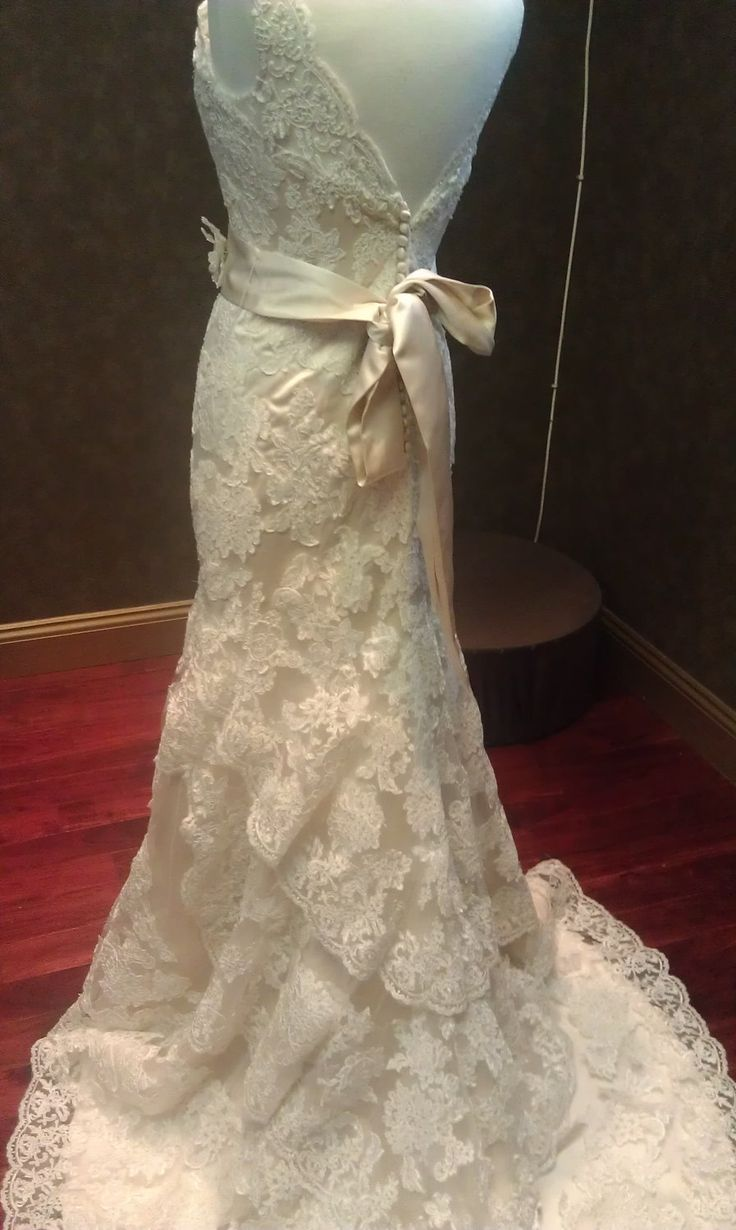 Vintage style wedding dress with french lace and straps 995 00 via