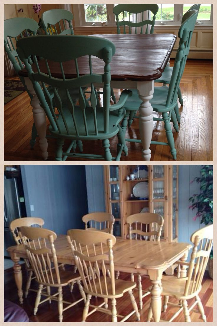 Chalk Paint Refinished And Old Craigslist Dining Room Set With Chalk Paint O