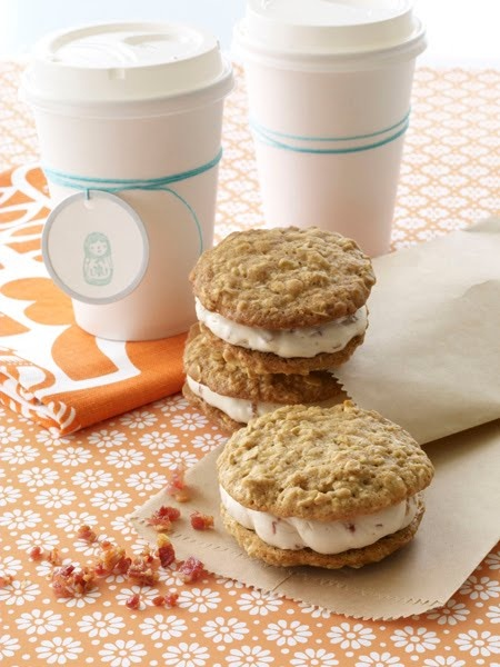 Oatmeal Whoopie Pies with Maple Bacon Buttercream Filling