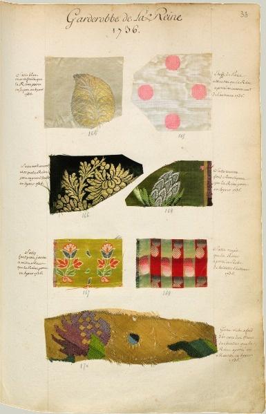 """""""Garde robbe de la Reine"""" - Échantillons d'étoffes et de toiles des manufactures de France recueillis par le maréchal de Richelieu. 1736. BnF"""