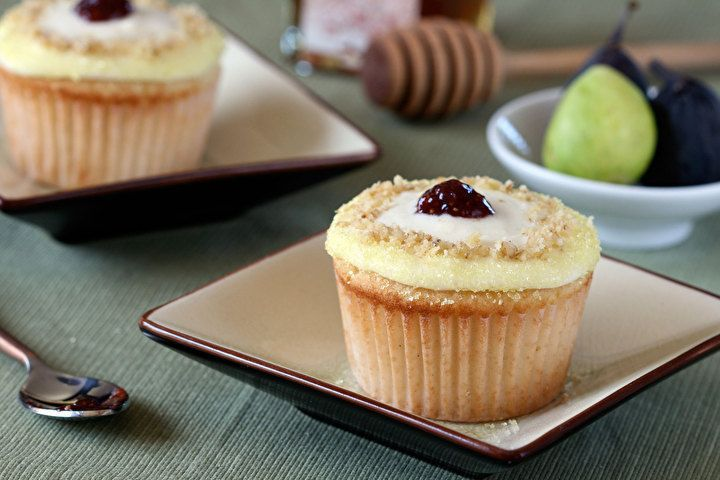 Vanilla Bean Fig Cupcakes with Orange Blossom Honey Frosting