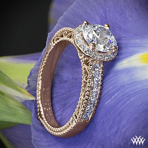 Rose Gold Verragio Beaded Pave Diamond Engagement Ring from the Verragio Vene