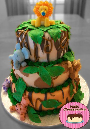 Safari Baby Shower Cake, Boy Version #cake #babyshower #jungle # ...