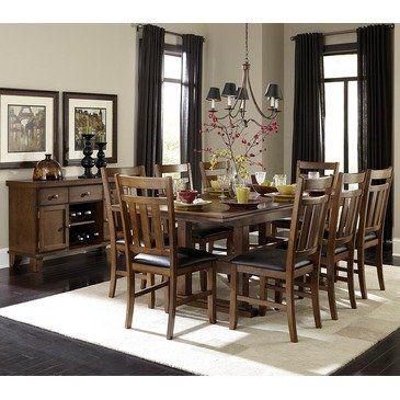 Piece Double Pedestal Dining Room Set In Warm Oak Furniture Decor