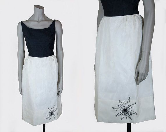 Vintage 1960s dress 60s black and white by floriavintage on etsy