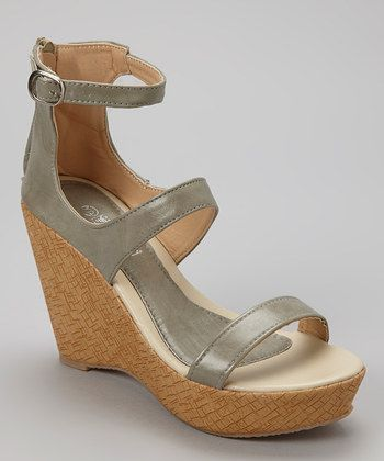 Shoes of Soul Women - Gray Ankle-Strap Wedge - Zulily