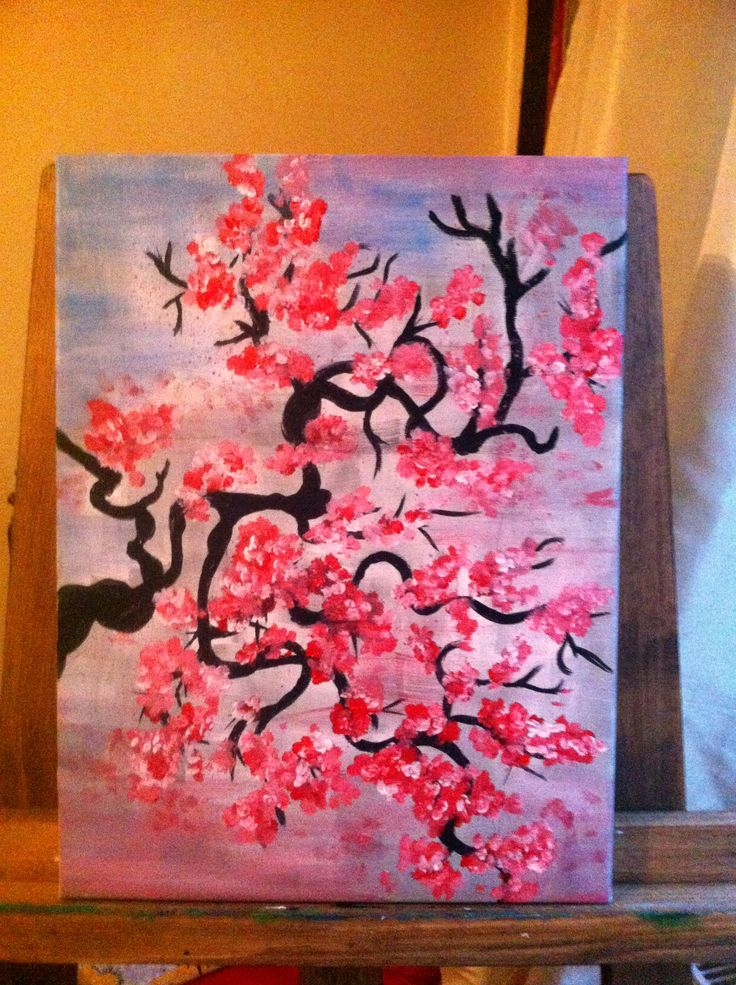 Acrylic painting cherry blossom my paintings pinterest for Cherry blossom canvas painting