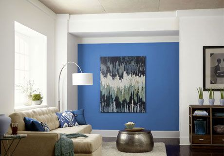 ... purple. I love the painting & ikat pillows too... Lowe's Color Studio