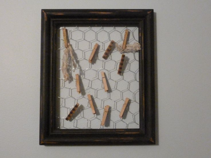 Black Primitive Frame with Chicken Wire and Mini Clothespins