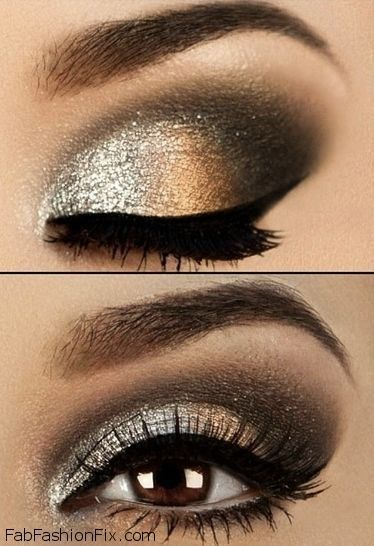 Glitter golden smokey eyes makeup look with eyeliner