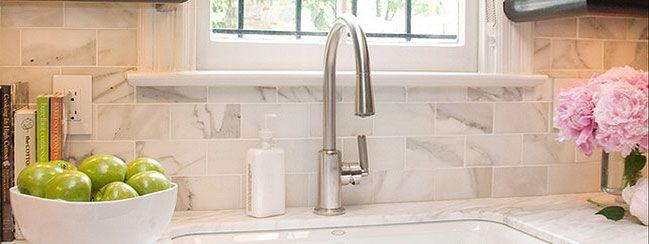 white marble subway backsplash tile kitchens pinterest