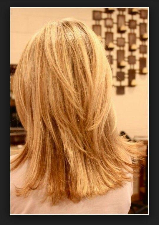 layered shoulder length hair back view