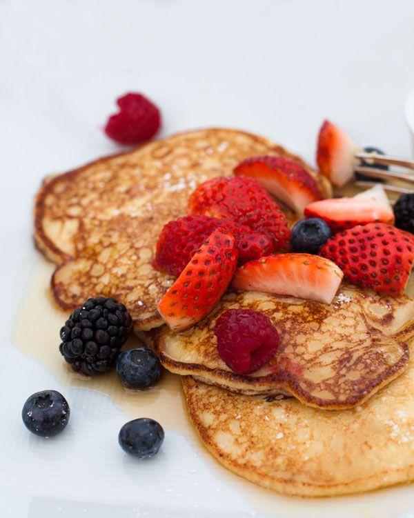 Lemon Ricotta Pancakes with fresh summer berries