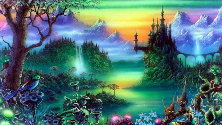Waterfalls in the enchanted woods forest fantasy art fairies - Enchanted Amp Magical Fantasy Land Pinterest