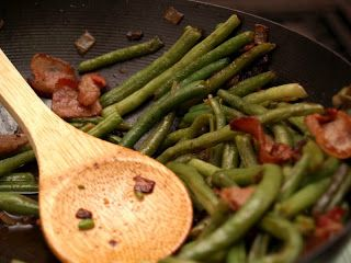 Green Beans and Bacon goes best with red wines like our Zinfandel!