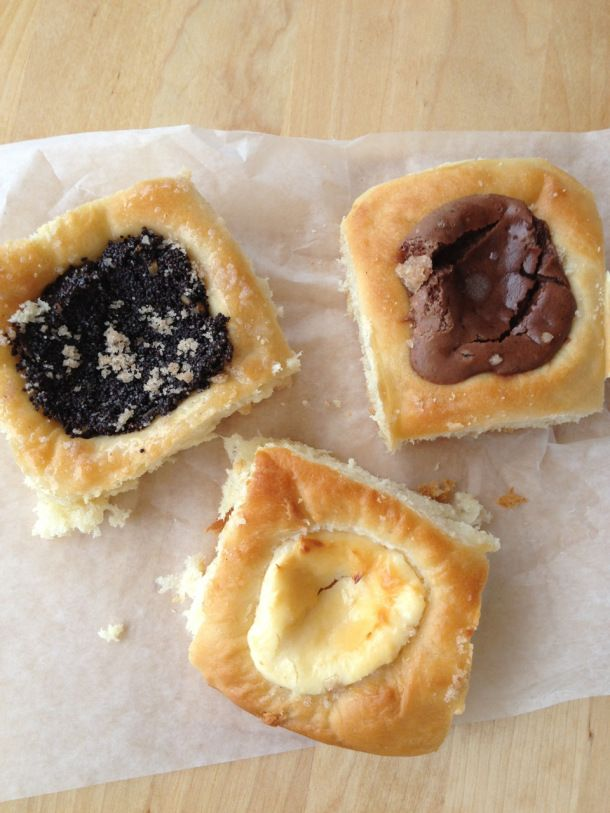Poppy seed, chocolate, and sweet cheese kolaches from Kolache Republic ...