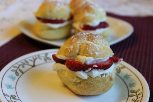 Cream Puffs filled with Strawberry and Mascarpone... yum!