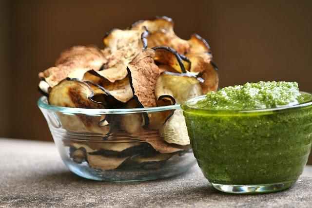 Eggplant chips with cilantro pesto dip...