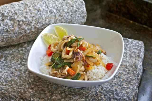 Wok-seared squid with lemongrass, chile and basil #Squid