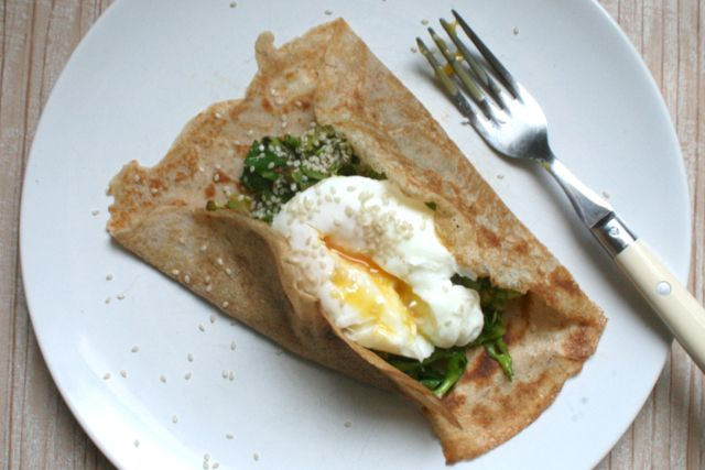 Sourdough buckwheat-crepes-with spring greens and a soft poached egg