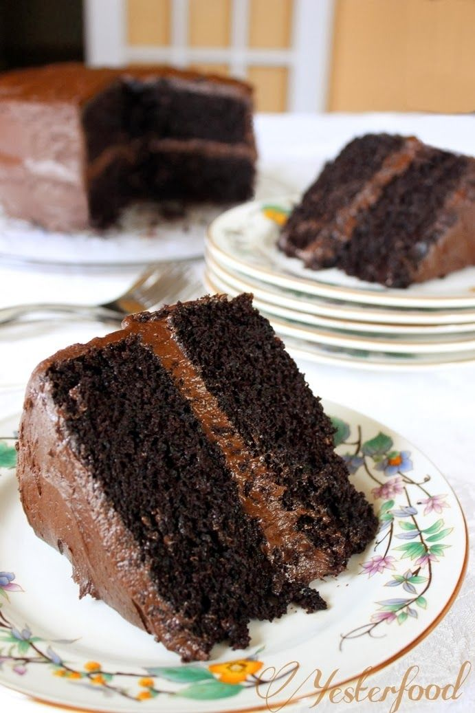 Yesterfood : Rich Chocolate Layer Cake | Recipes - Dessert Time | Pin ...