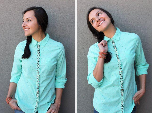 как украсить рубашку своими руками