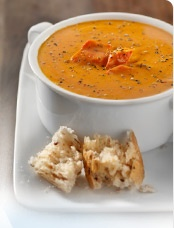 Roasted Red Pepper Soup with Yogurt Pesto Swirl -- made with Greek ...