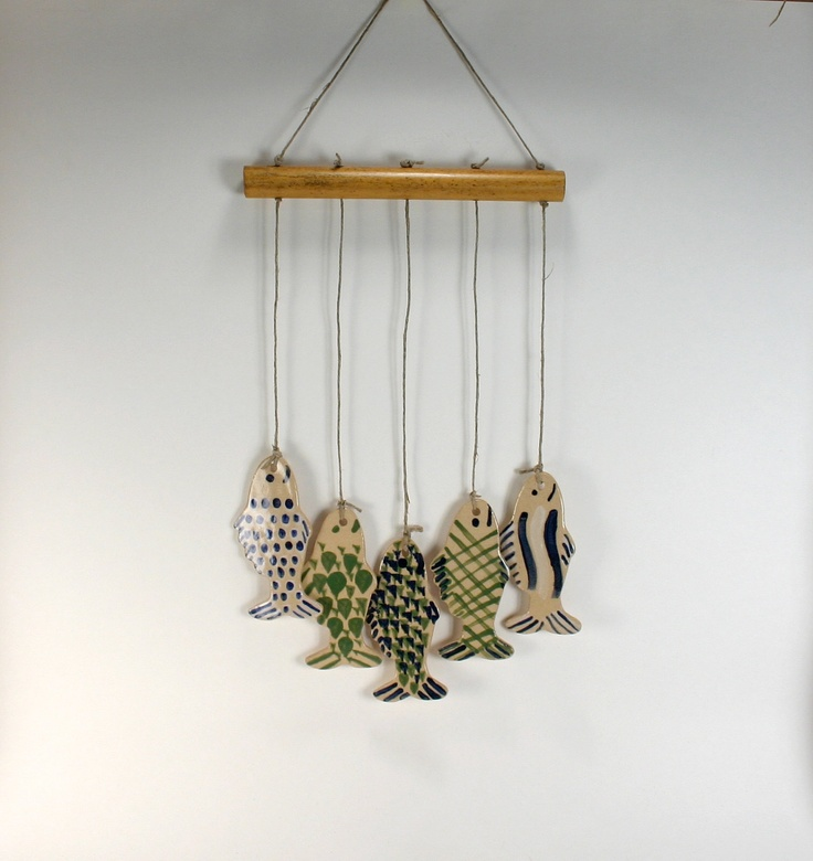 5 blue and green fish handmade stoneware wind chimes