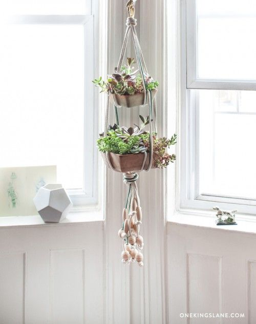 7 Last-Minute DIYs for Your Fourth of July Party // Hanging Succulent Planter via Design Sponge