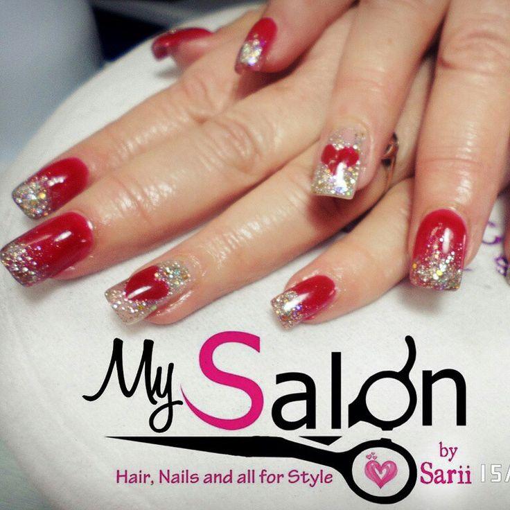 imagenes de uñas rojas con plata