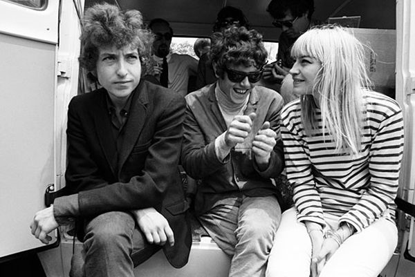 bob dylan, donovan, and mary travers at the newport folk festival, july 1965.