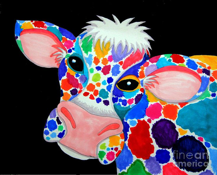 Colorful Cow Print by Nick Gustafson